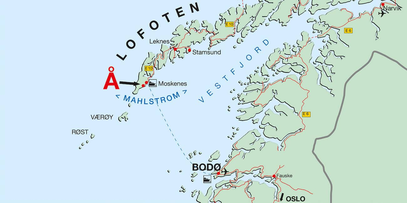 The Lofoten are situated about 200 km above the Arctic Circle