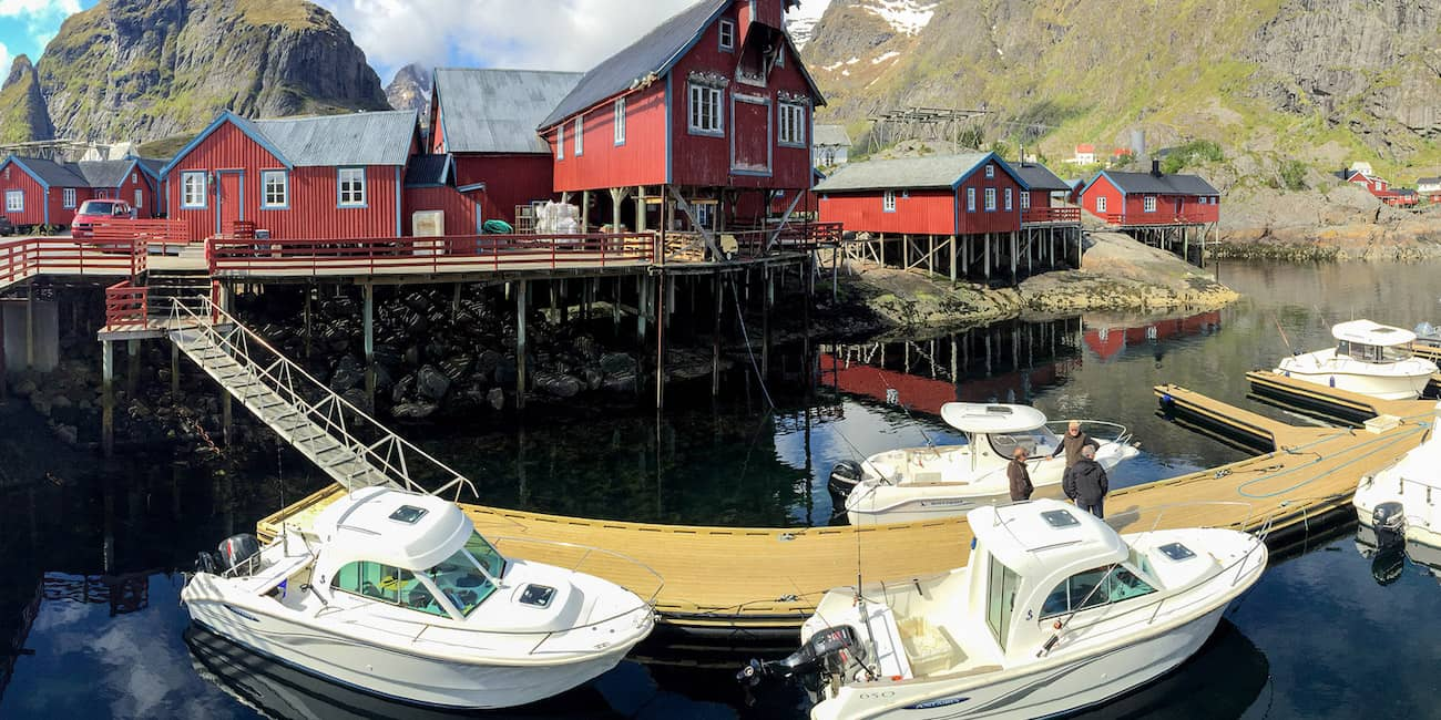 Our fishing boats are located on a large floating bridge in the harbor of Å