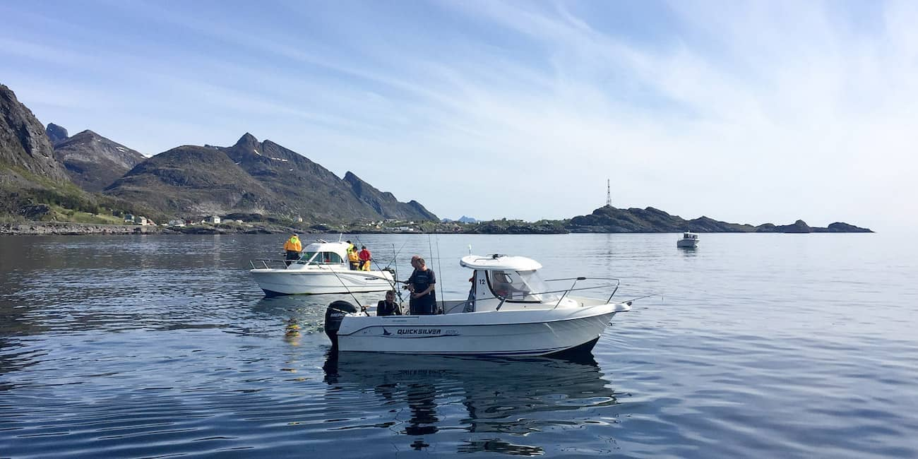 Top equipped rental boats in front of the coast at Å
