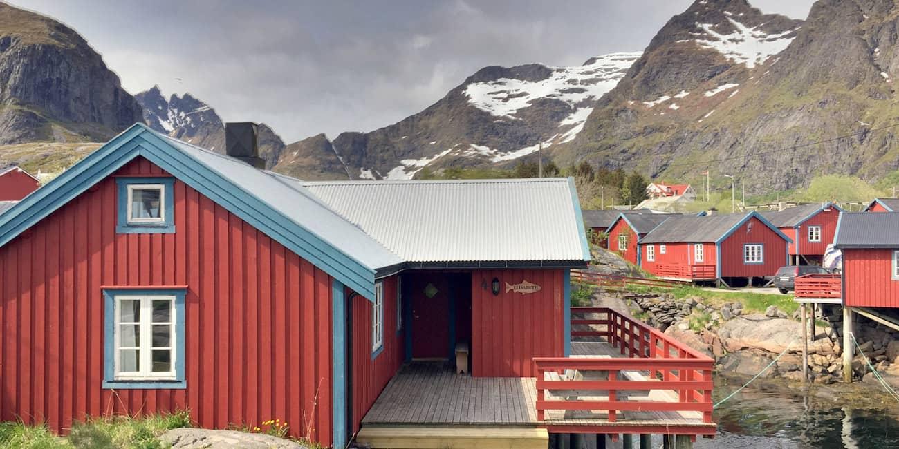 Wohnen in Fischerhütten (Rorbu)