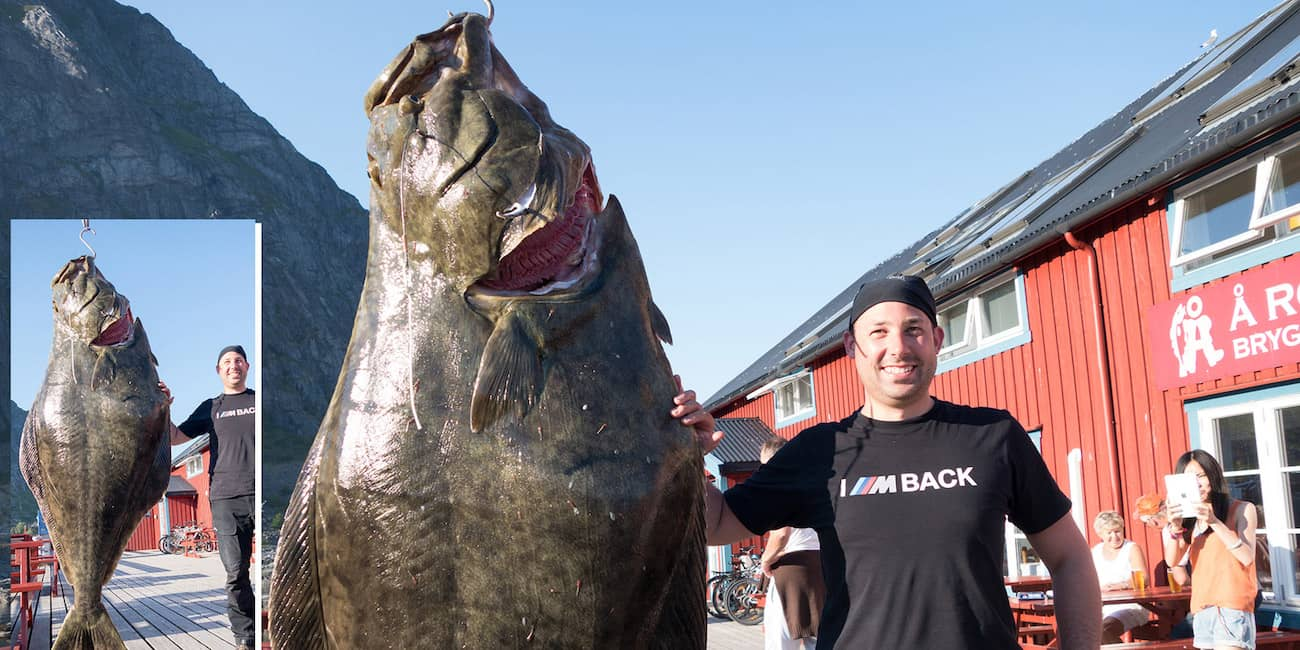 "Record: ""Nordmeer Angelreisen"" customer with 162 kg / 357 Lbs halibut caught at the Maelstrom"