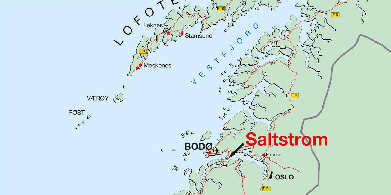 The Saltstraumen is located near Bodø, 100 km above the Arctic Circle
